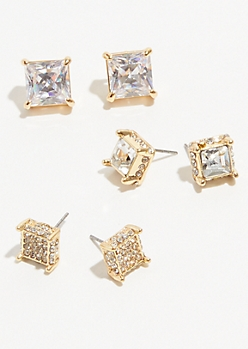 3-Pack Gold Cubic Zirconia Square Cut Earring Set