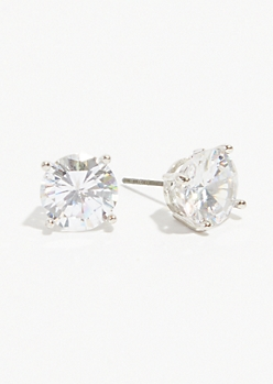 Silver Cubic Zirconia Stone Stud Earrings