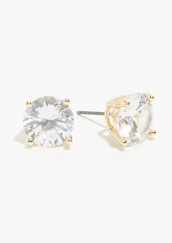 Gold Cubic Zirconia Stone Stud Earrings
