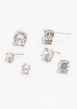 3-Pack Silver Cubic Zirconia Stud Earring Set