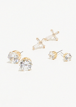 3-Pack Gold Cubic Zirconia Cross Earring Set