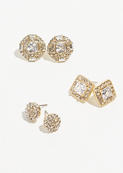3-Pack Gold Cubic Zirconia Earring Set