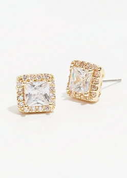 Gold Square Cubic Zirconia Stud Earrings