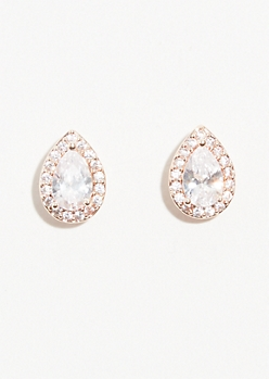 Rose Gold Teardrop Cubic Zirconia Earrings