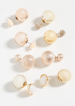 4-Pack Rose Gold Gemstone Double Ball Earring Set