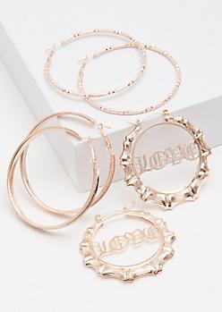 3-Pack Rose Gold Love Glitter Hoop Earrings