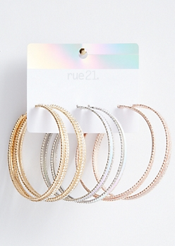 3-Pack Mixed Metal Iridescent Hoop Earring Set