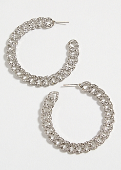 Silver Gemstone Link Hoop Earrings