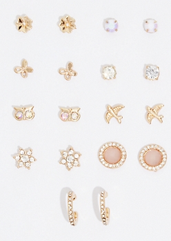 9-Pack Gold Sparrow Stud Earring Set