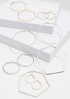 6-Pack Mixed Metal Geometric Hoop Earring Set