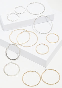 6-Pack Mixed Metal Snakeskin Hoop Earring Set
