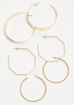3-Pack Gold Geometric Hoop Earring Set