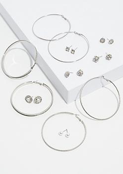 9-Pack Silver Glitter Earring Set