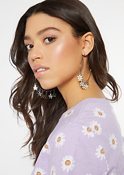 Daisy Charm Hoop Earrings