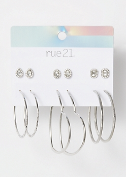 6-Pack Silver Cushion Stone Hoop Earring Set