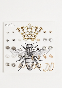 20-Pack Mixed Metal Love Stud Earring Set