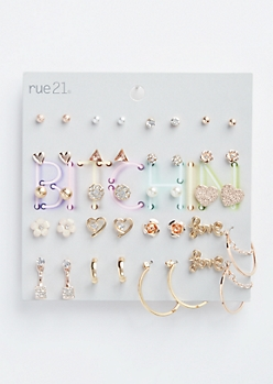 20-Pack Mixed Metal Love Assorted Earring Set