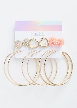 6-Pack Pink Rose Earring Set