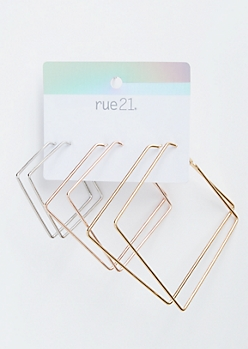 3-Pack Mixed Metal Square Hoop Earrings