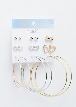9-Pack Mixed Metal Heart Earring Set