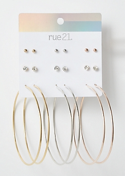 9-Pack Mixed Rhinestone Solid Hoop Earring Set