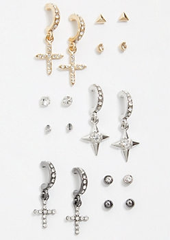 9-Pack Mixed Metal Cross Drop Earring Set