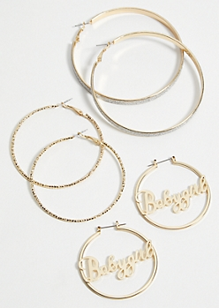 3-Pack Gold Baby Girl Trio Hoop Earring Set