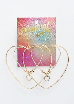 Gold Double Heart Hoop Earrings