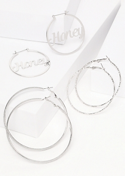 3-Pack Silver Honey Hoop Earring Set
