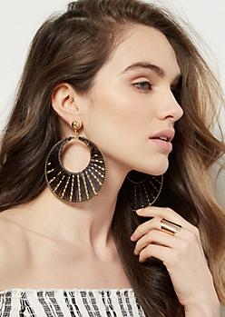 Black Thread Beaded Hoop Earrings