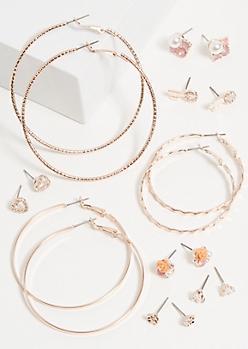 9-Pack Rose Gold Flower Cluster Earring Set