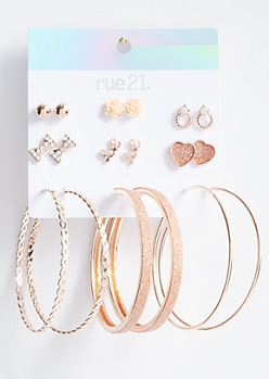 9-Pack Rose Gold Bow Love Earring Set