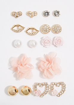 9-Pack Pink Mesh Flower Stud Earring Set