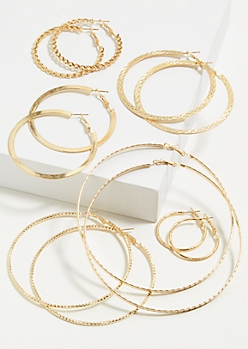 6-Pack Gold Chain Hoop Earring Set