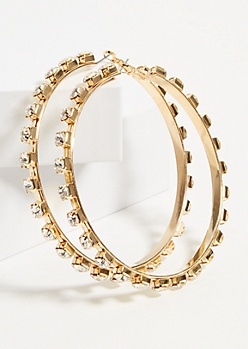 Gold Square Gem Stud Hoop Earrings