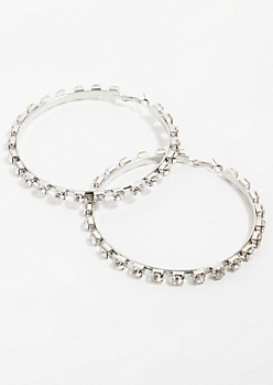 Silver Square Gem Stud Hoop Earrings