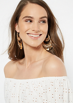 Gold Double Medallion Hoop Earrings