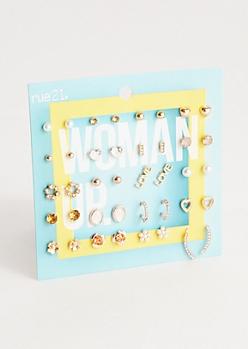 20-Pack Pearl Flower Assorted Earring Set