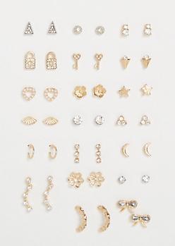 20-Pack Mixed Metal Geometric Pendant Earring Set