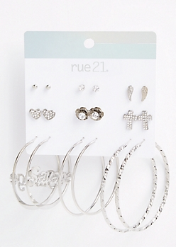9-Pack Silver Savage Hoop Earring Set