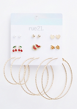 9-Pack Gold Cherry Watermelon Earring Set