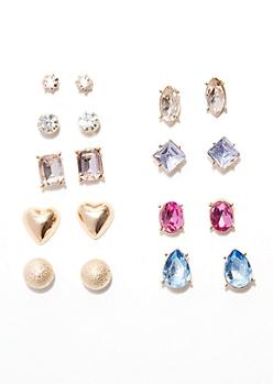 9-Pack Gold Multi Gemstone Earring Set