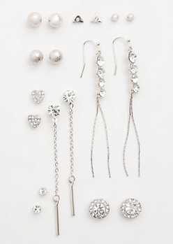 9-Pack Silver Heart Drop Earring Set