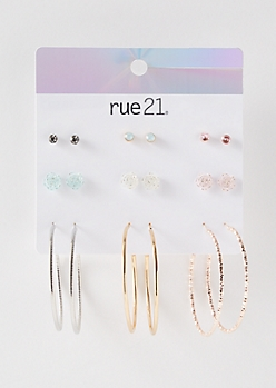 9-Pack Mixed Metal Pastel Rose Earring Set