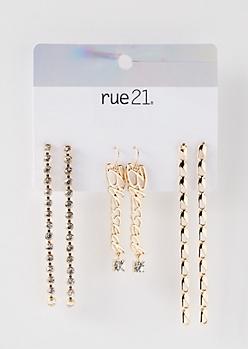 3-Pack Gold Blessed Dangle Earring Set