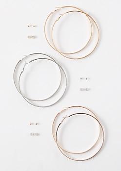 9-Pack Mixed Metal Gemstone Earring Set