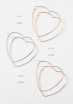 9-Pack Mixed Metal Basic Heart Earring Set