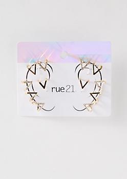 Gold Diamond Gemstone Ear Cuffs