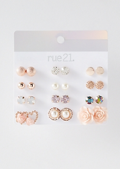 12-Pack Rose Gold Stone Stud Earring Set