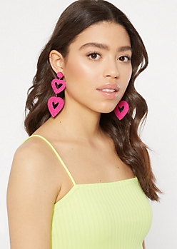 Hot Pink Drop Heart Earrings